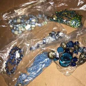Blue styled vintage necklace bundle